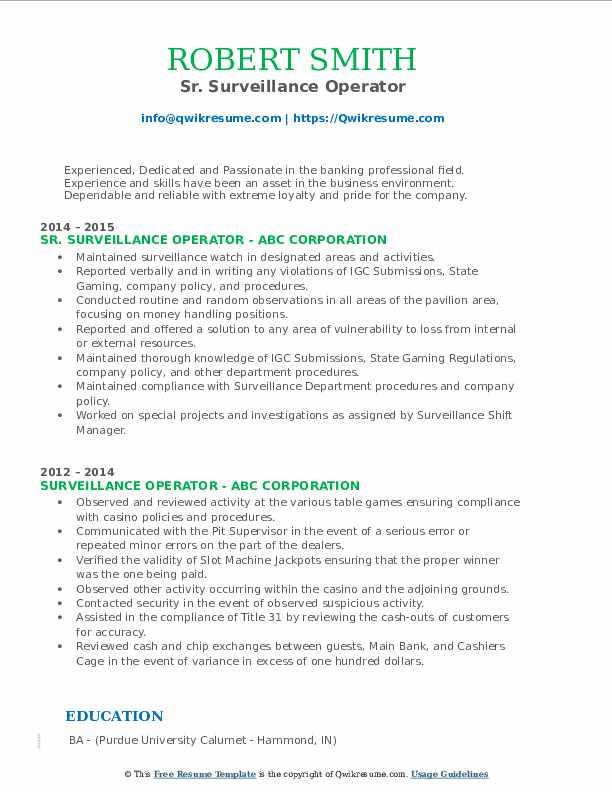 Sr. Surveillance Operator Resume Format
