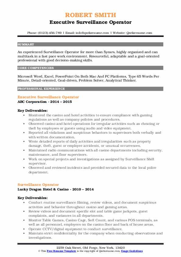 Executive Surveillance Operator Resume Template