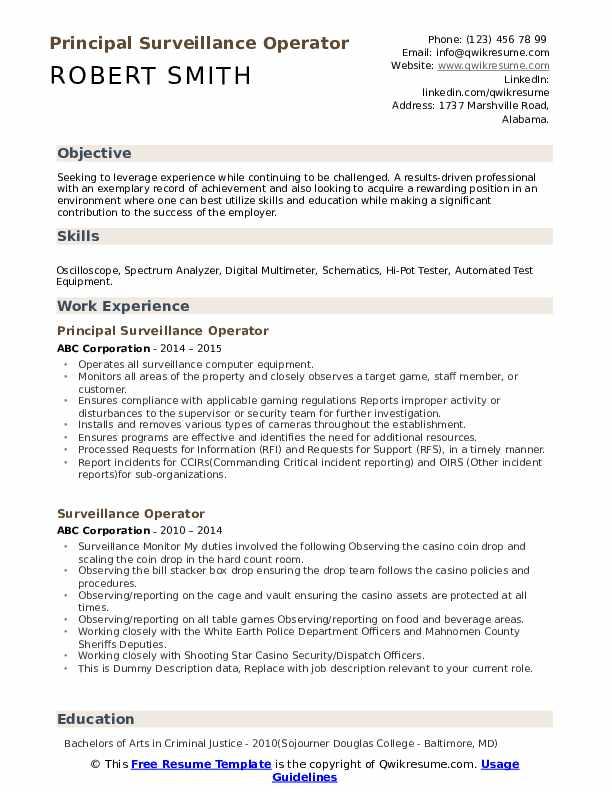 Principal Surveillance Operator Resume Model