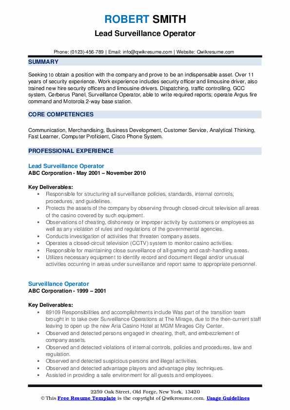 Lead Surveillance Operator Resume Model