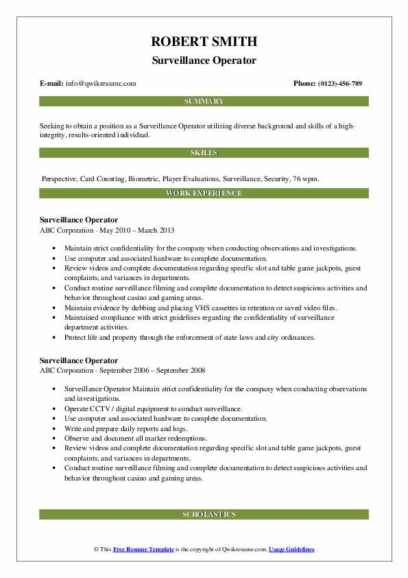 Surveillance Operator Resume example