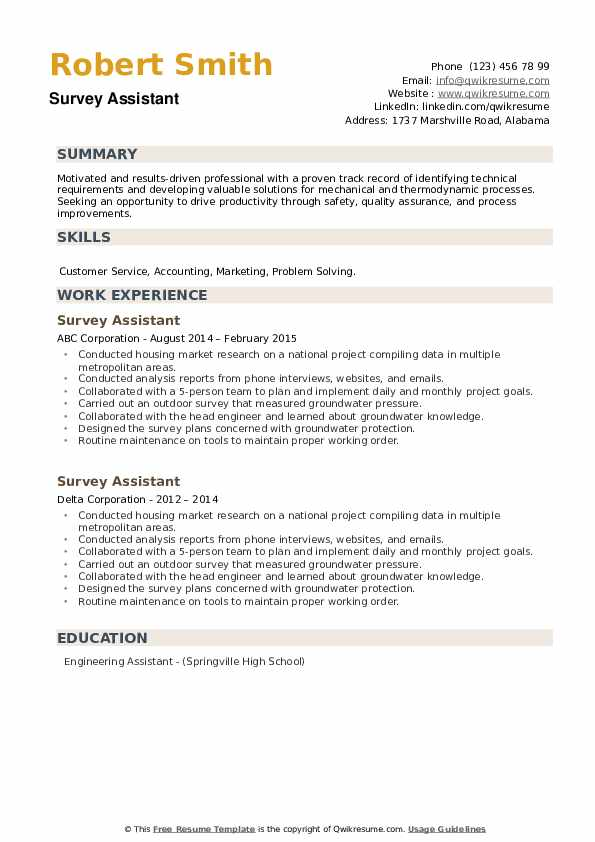 Survey Assistant Resume example