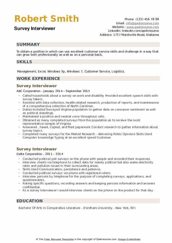 Survey Interviewer Resume example