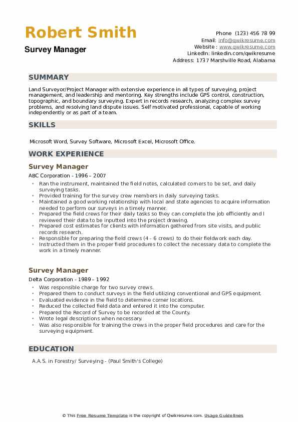 Survey Manager Resume example