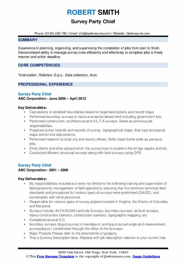 Survey Party Chief Resume example