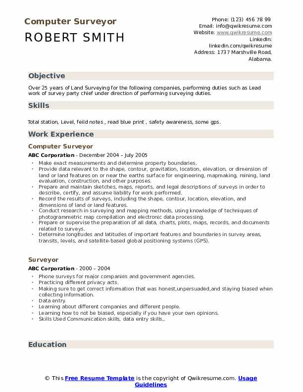 Computer Surveyor Resume Example