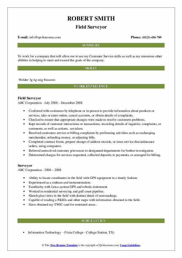 Field Surveyor Resume Sample