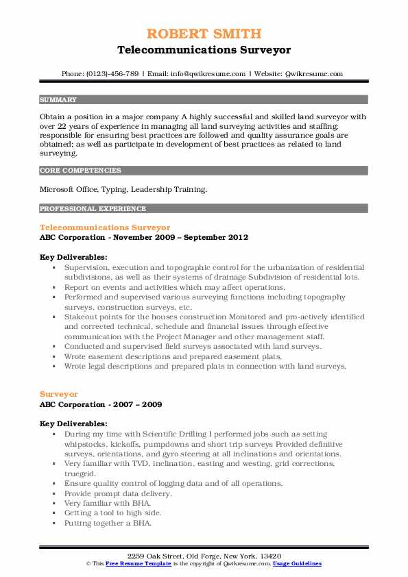 Telecommunications Surveyor Resume Format