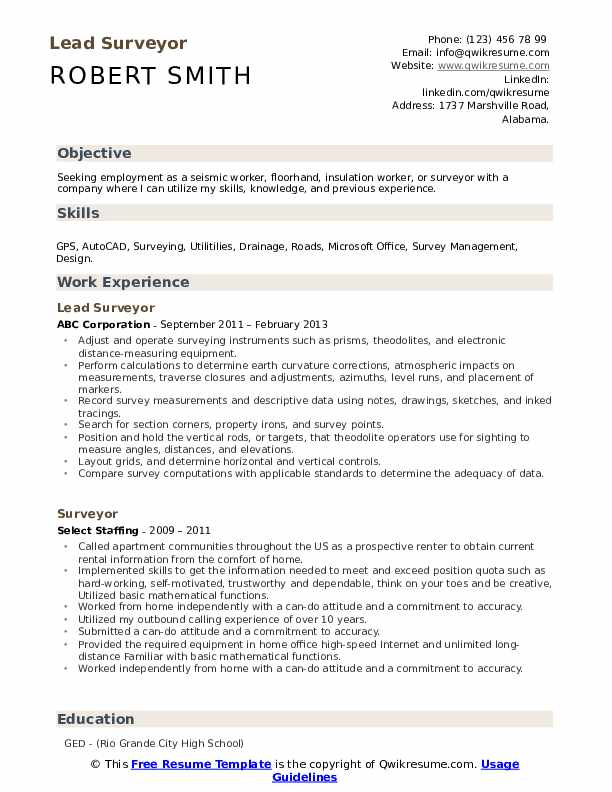 Lead Surveyor Resume Template