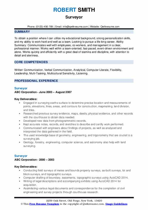 Surveyor Resume example