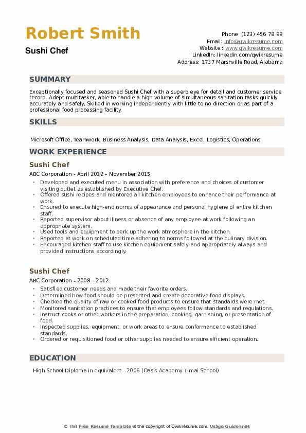 Sushi Chef Resume example