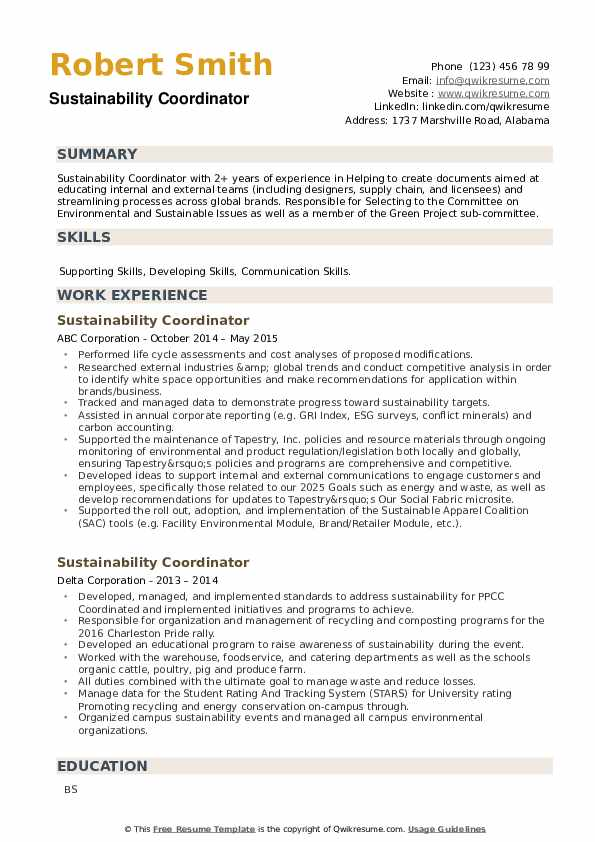 Sustainability Coordinator Resume example