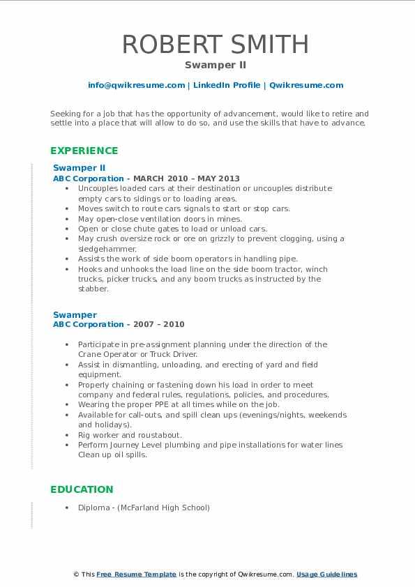 Swamper II Resume Template