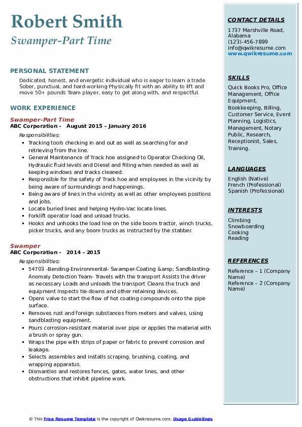 Swamper-Part Time Resume Format