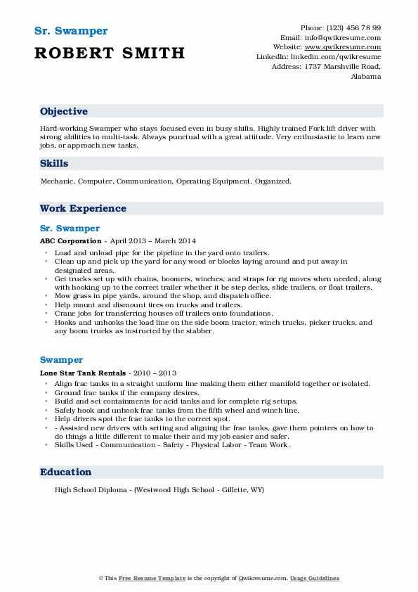 Sr. Swamper Resume Example