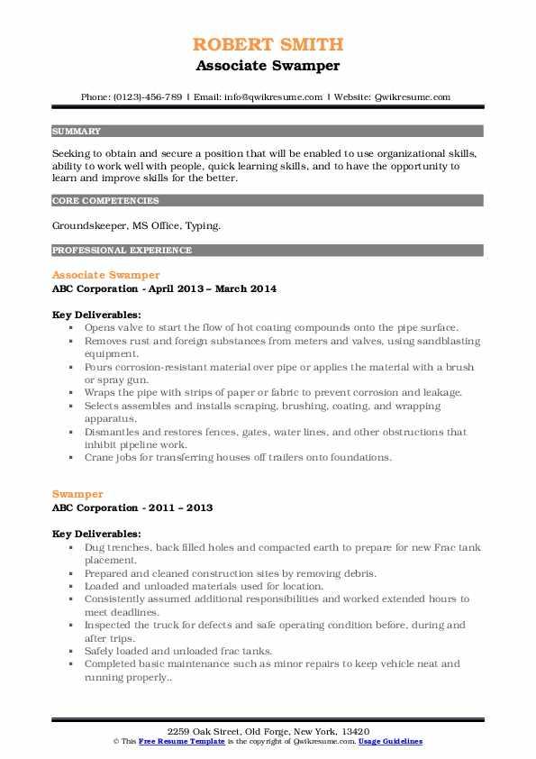Associate Swamper Resume Template