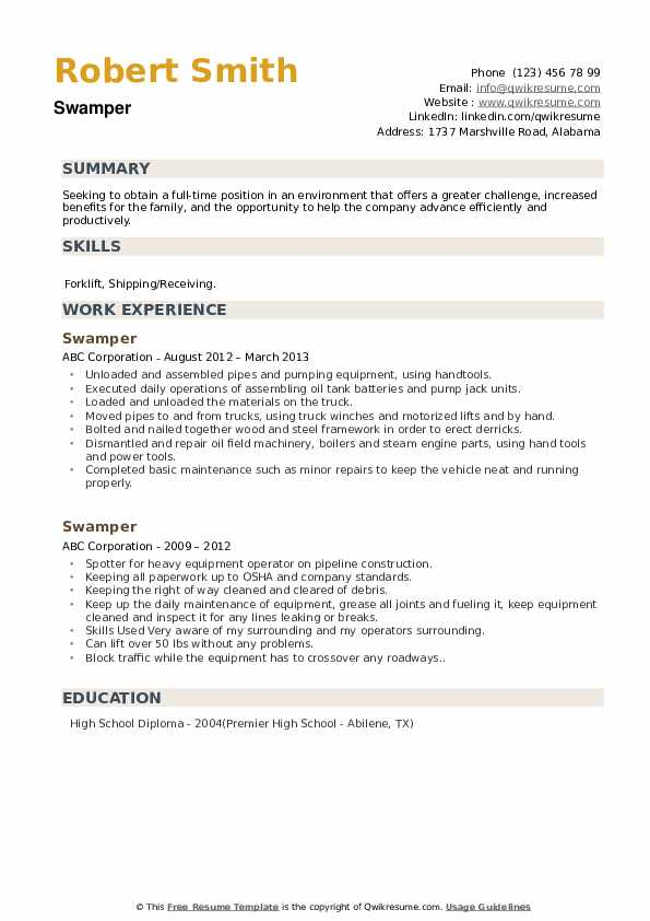 Swamper Resume example