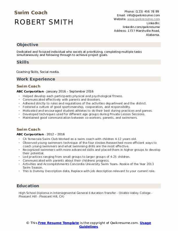 Swim Coach Resume example