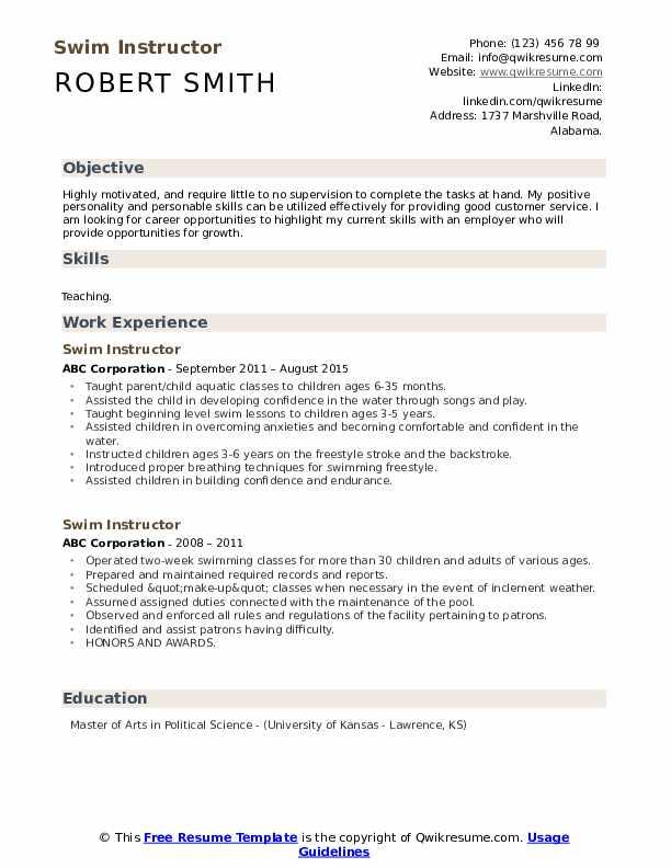 Swim Instructor Resume example