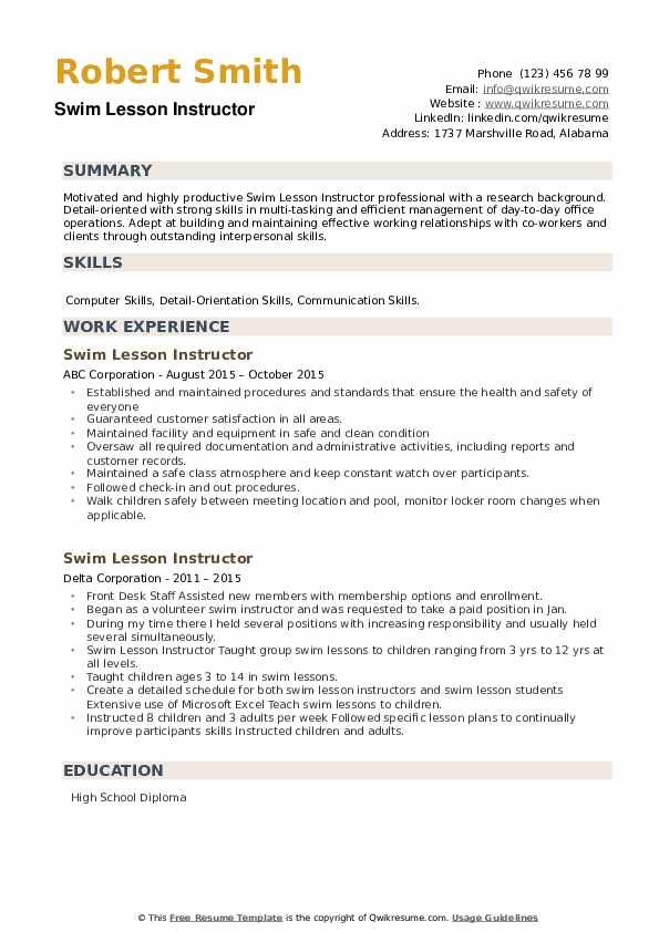 Swim Lesson Instructor Resume example