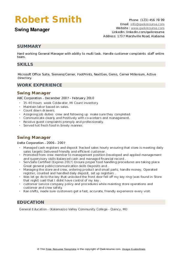 Swing Manager Resume example