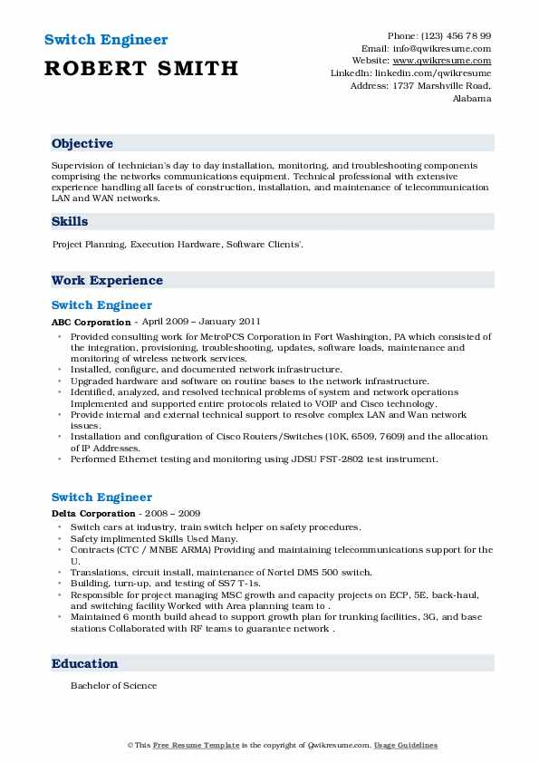 switch engineer resume samples  qwikresume