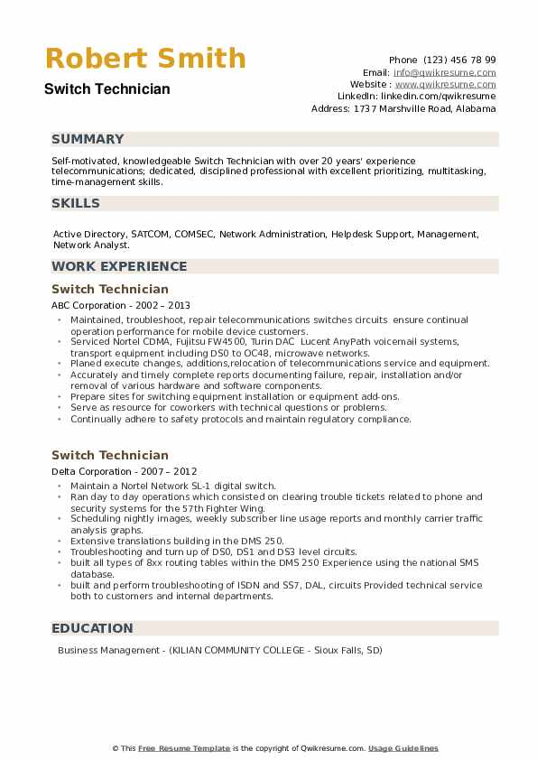 Switch Technician Resume example