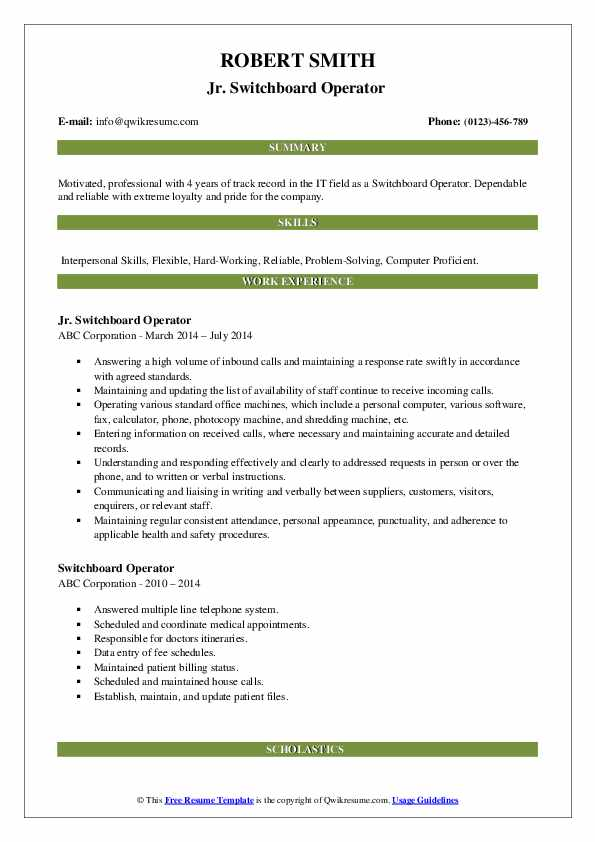 Jr. Switchboard Operator  Resume Example