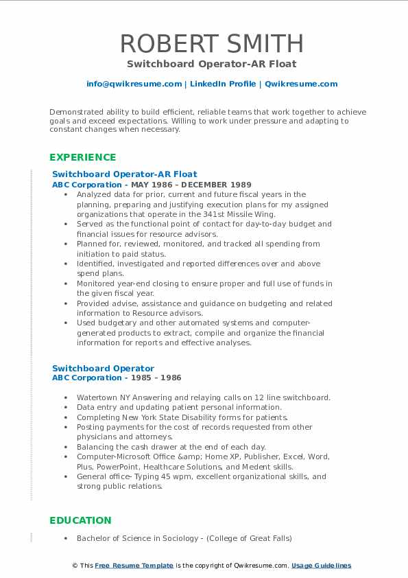Switchboard Operator-AR Float Resume Model