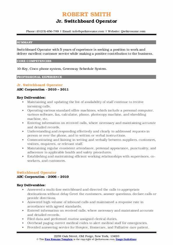 Jr. Switchboard Operator Resume Model