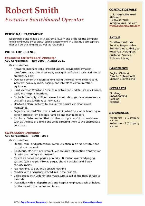 Executive Switchboard Operator Resume Model