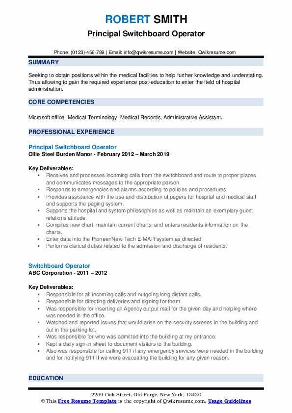Principal Switchboard Operator Resume Model