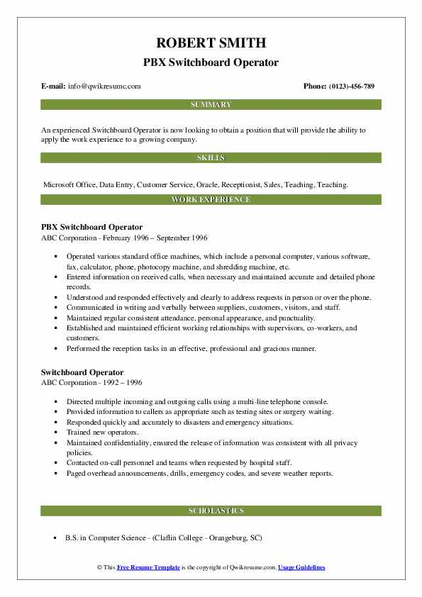 switchboard operator resume samples