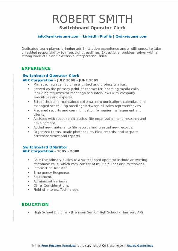 Switchboard Operator-Clerk Resume Example