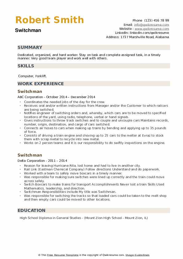 Switchman Resume example