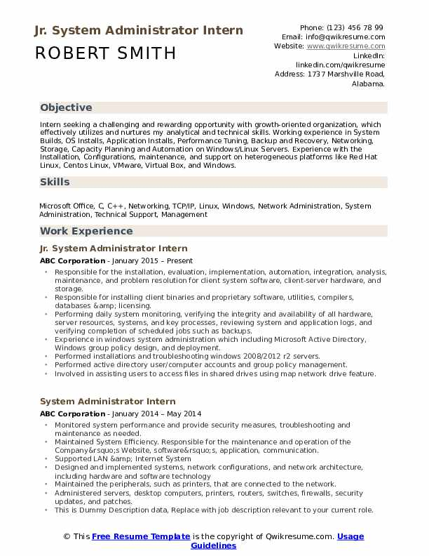 Jr. System Administrator Intern Resume Template