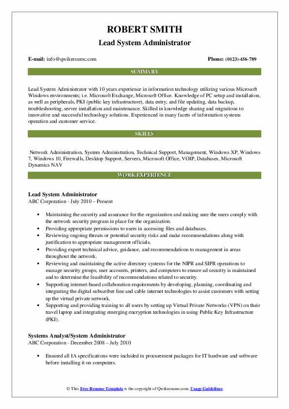 Lead System Administrator Resume Template