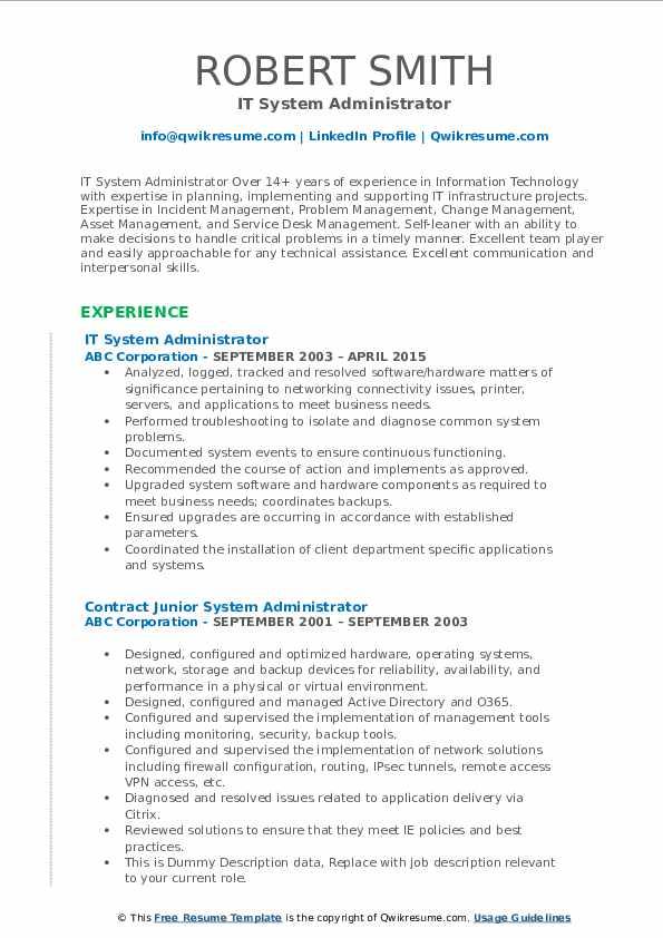 IT System Administrator Resume Model