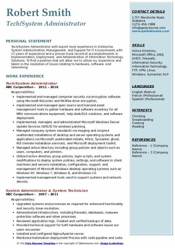 Tech/System Administrator Resume Format