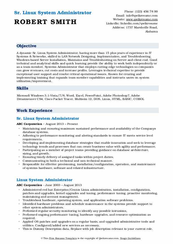 Sr. Linux System Administrator Resume Example