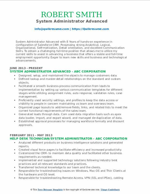 System Administrator Advanced Resume Template