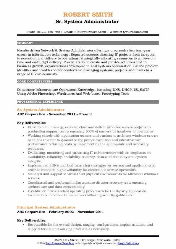 Sr. System Administrator  Resume Model