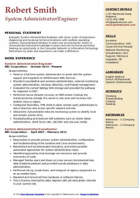 System Administrator/Engineer Resume Format