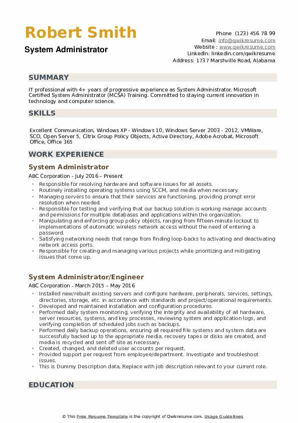 System Administrator Resume example