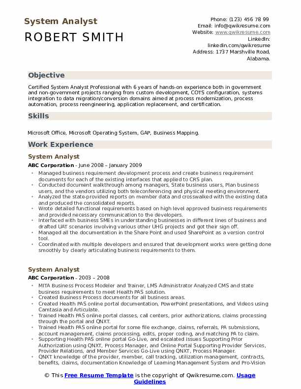 System Analyst Resume Template