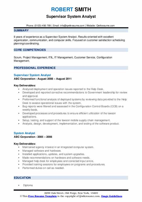 Supervisor System Analyst Resume Sample