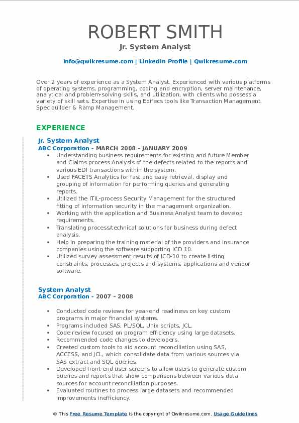 Jr. System Analyst Resume Example