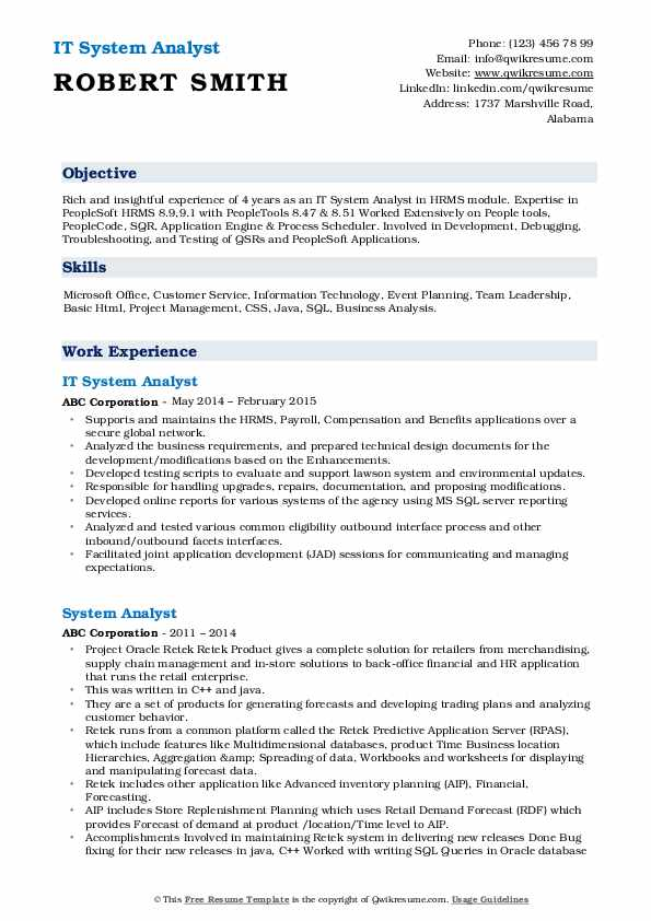 IT System Analyst Resume Template