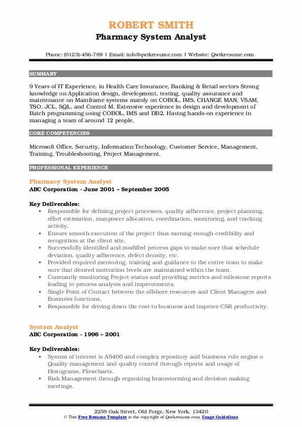 Pharmacy System Analyst Resume Format