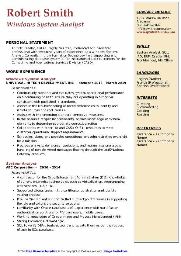 Windows System Analyst Resume Sample